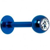 Пирсинг губы ( лабрет ) синий с белым камнем 8мм 4мм