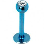 Пирсинг губы ( лабрет ) голубой с белым камнем 8мм 4мм