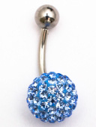 Пирсинг пупка c кристаллами 10мм -