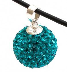 Подвеска с кристаллами цвета голубой циркон (шарик)