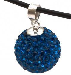 Подвеска с темно-синими кристаллами  (шарик)