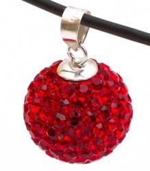 Подвеска с красными кристаллами (шарик)
