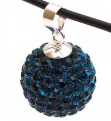 Подвеска с кристаллами цвета джинс (шарик)