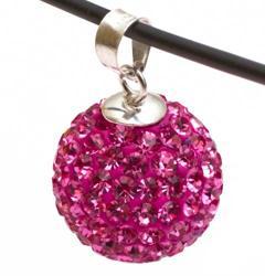 Подвеска с малиновыми кристаллами (шарик)