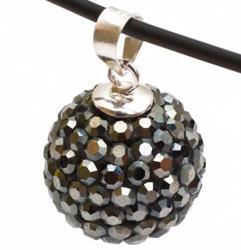 Подвеска с кристаллами цвета черный бриллиант (шарик) зеркальный