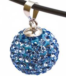 Подвеска с голубыми кристаллами (шарик)