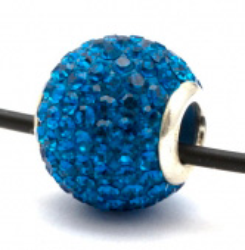 Подвеска с ярко-синими кристаллами (шарик со сквозным отверстием)