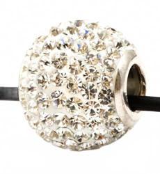 Подвеска с белыми кристаллами (шарик)