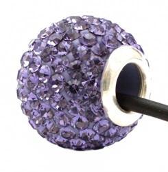 Подвеска с кристаллами фиолетовая шарик со сквозным отверстием