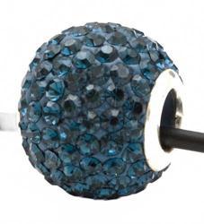 Подвеска с кристаллами цвета джинс (шарик со сквозным отверстием)