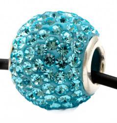 Подвеска с бирюзовыми кристаллами (шарик со сквозным отверстием)