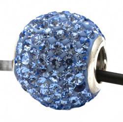 Подвеска с голубыми кристаллами (шарик со сквозным отверстием)