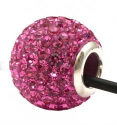 Подвеска с розовыми кристаллами (шарик со сквозным отверстием)