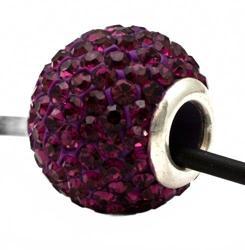 Подвеска с темно-фиолетовыми кристаллами (шарик со сквозным отверстием)