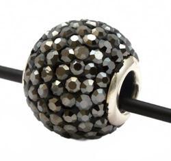 Подвеска с кристаллами черный бриллант зеркальный (шарик со сквозным отверстием)
