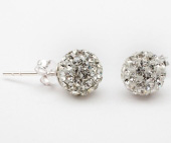 Серьги гвоздики с кристаллами Swarovski белые - Диаметр шара: 8 мм