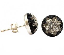 Серьги гвоздики с кристаллами полумесяц