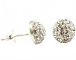 Серьги гвоздики с кристаллами полумесяц - Диаметр окружности: 10 мм