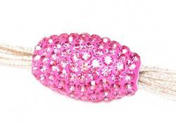 Подвеска с розовыми кристаллами (вытянутая, сквозное отверстие)