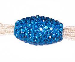 Подвеска с синими кристаллами (вытянутая, сквозное отверстие)