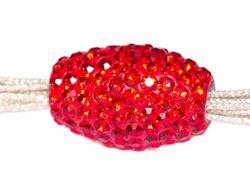 Подвеска с красными кристаллами (вытянутая, сквозное отверстие)