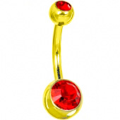 Пирсинг пупка с двумя камнями 8мм. под золото (цвет: красный) -