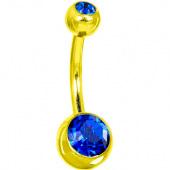 Пирсинг пупка с двумя камнями 8мм. под золото (цвет: синий) -