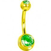 Пирсинг пупка с двумя камнями 8мм. под золото (цвет: салатовый) -