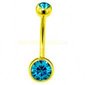 Пирсинг пупка с двумя камнями 8мм. под золото (цвет: голубой) -