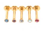 Пирсинг губы ( лабрет ) под золото (вкручивается в штангу) 8мм