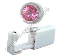 Одноразовый пистолет для прокола ушей под серебро c розовым камнем 210