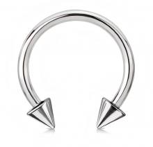 Циркуляр пирсинг под серебро  с конусами